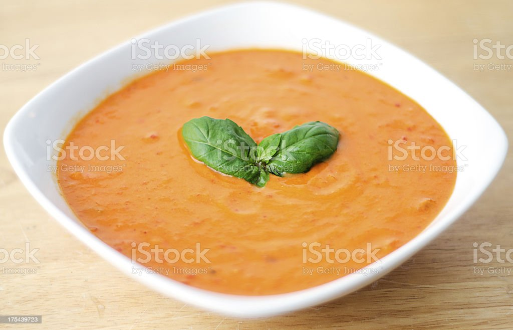 Roasted red pepper bisque stock photo