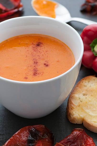 Roasted Red Pepper Soup bildbanksfoto