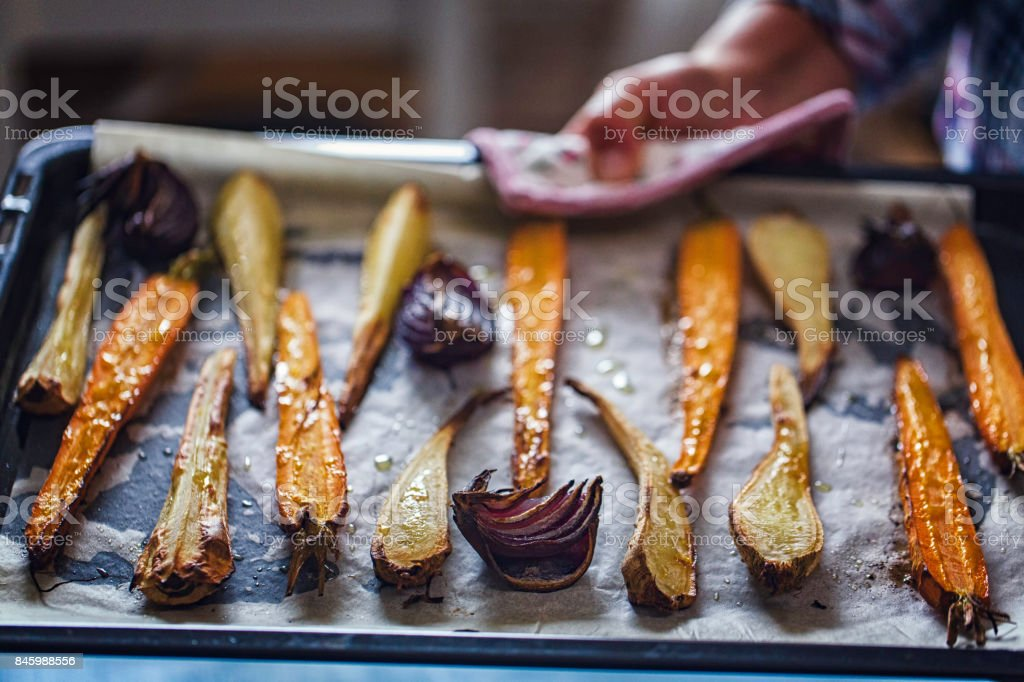 Roasted Root Vegetables Fresh From the Oven stock photo
