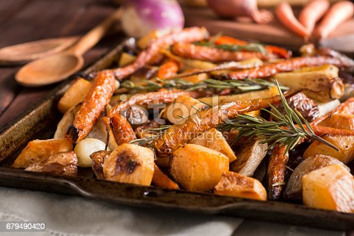 Roasted Root Vegetables -- Carrot, Turnip, Rutabaga, Parsnip, Shallot