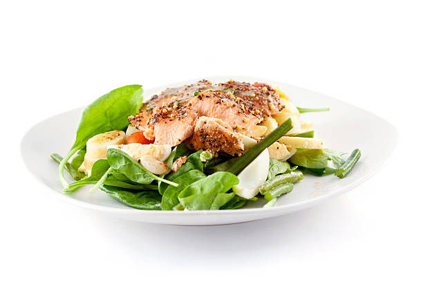 Roasted Salmon Salad Salad with delicious roasted smoked salmon. main course stock pictures, royalty-free photos & images
