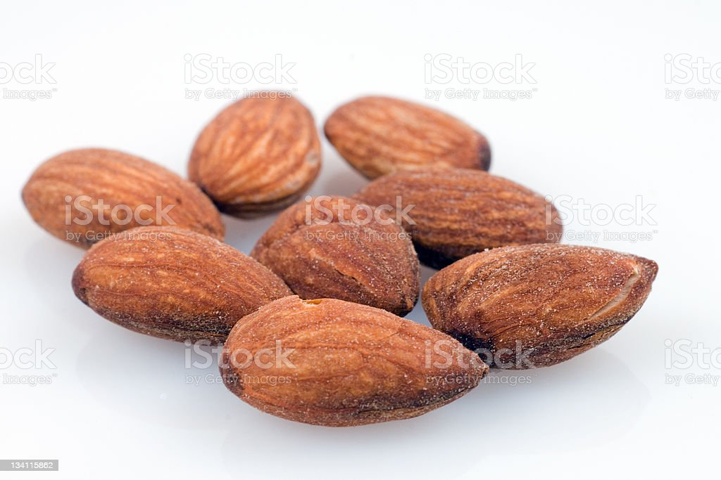 Roasted salted almonds stock photo