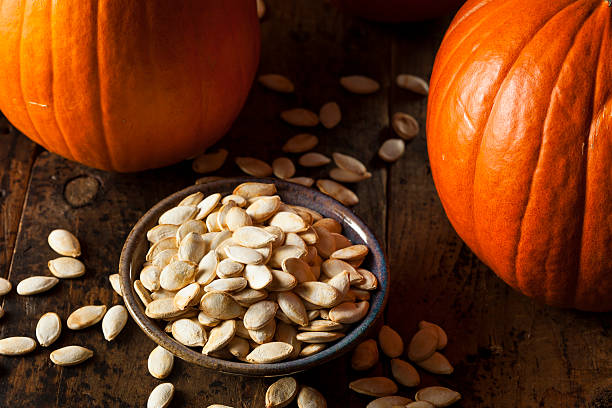 Roasted Salty Pumpkin Seeds stock photo