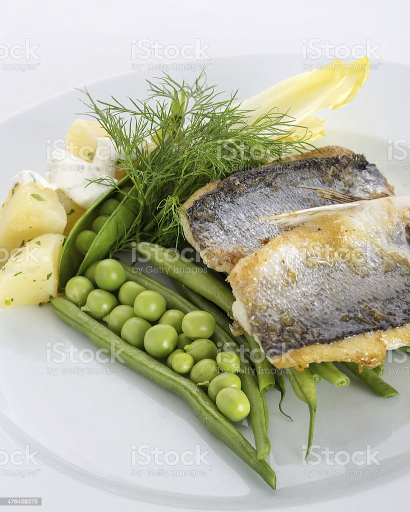 Roasted Sea Bass royalty-free stock photo