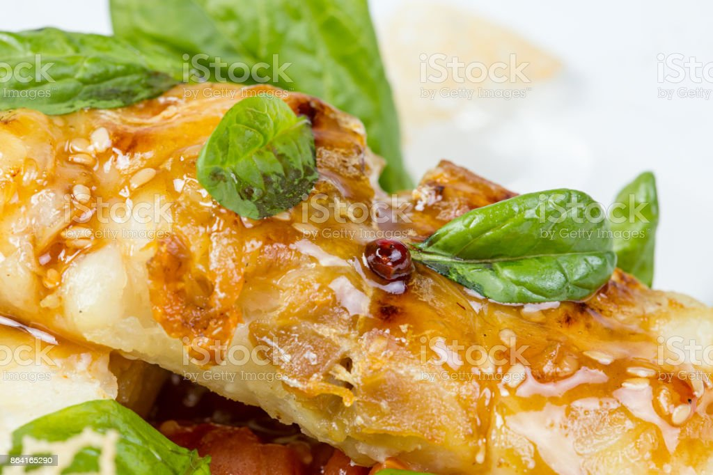 Roasted seabass fillet with vegetables royalty-free stock photo