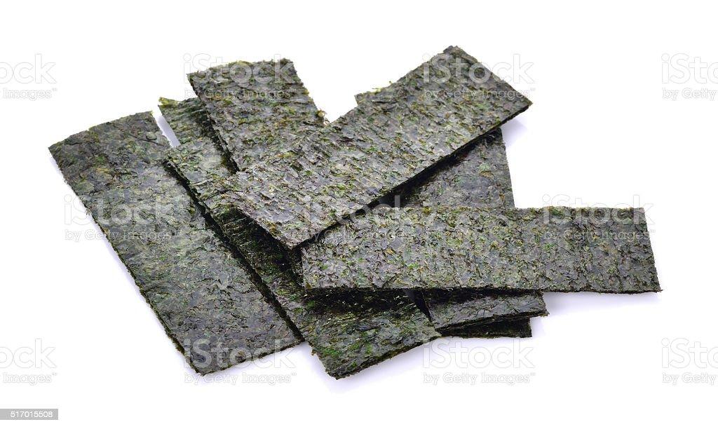 Roasted Seaweed Snack isolated on white background. stock photo