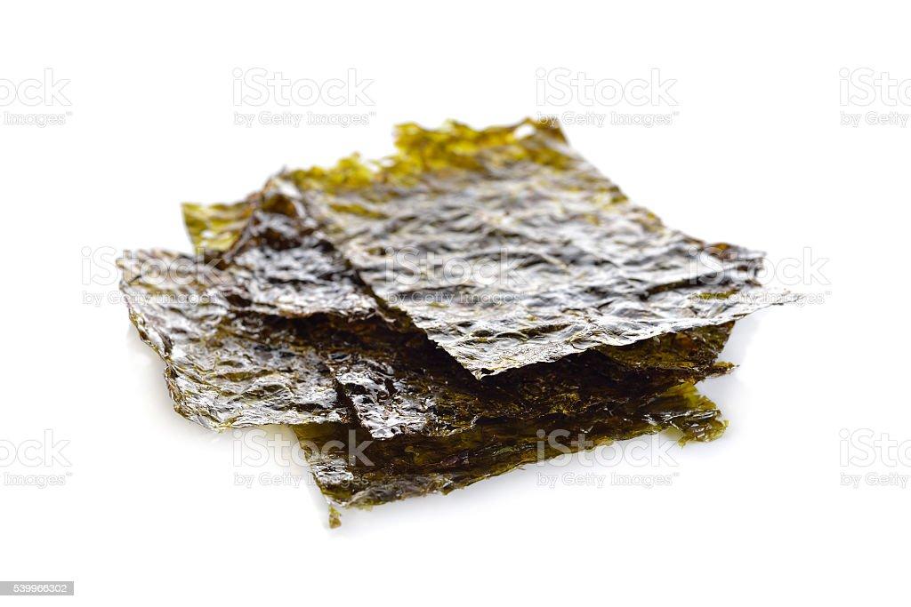 roasted seaweed with salted seasoning on white background stock photo