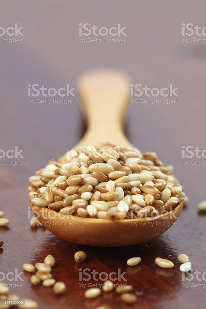Roasted sesame seeds stock photo