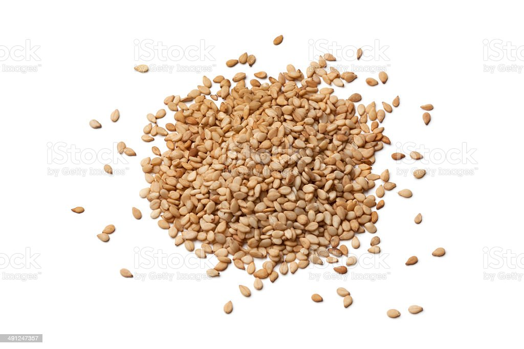 Roasted sesame seeds stock photo