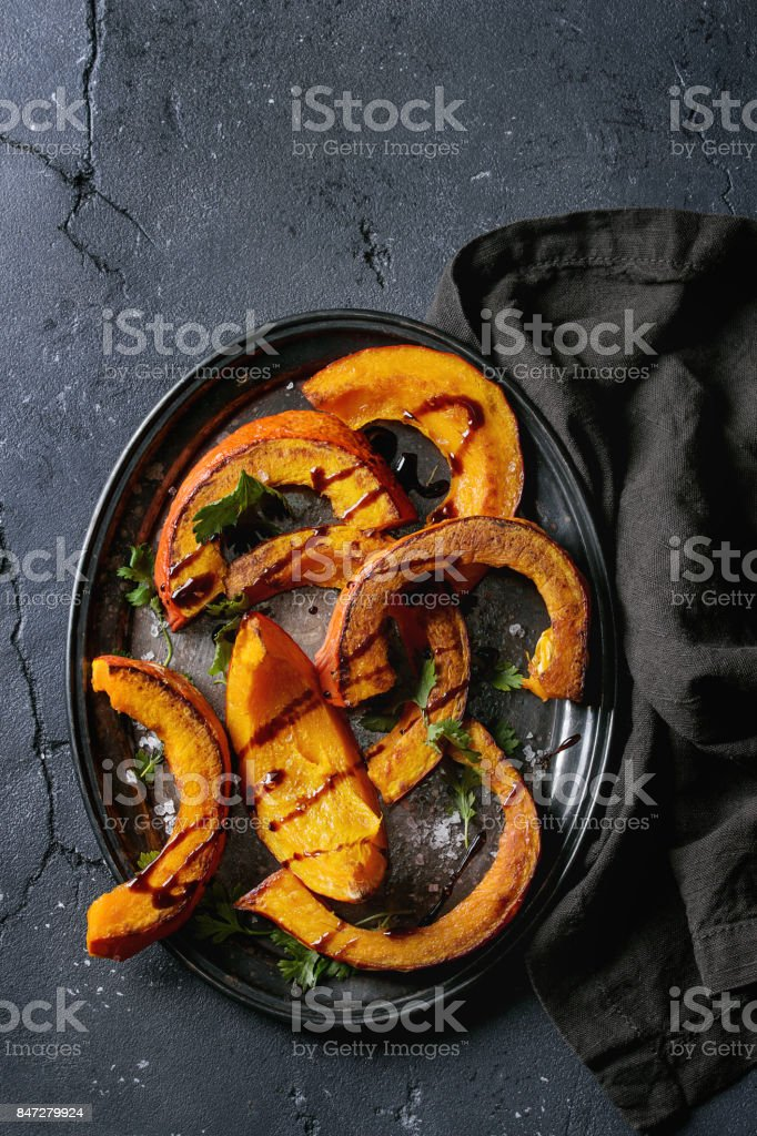 Roasted slised pumpkin stock photo