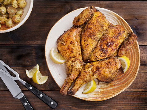 Roasted Spatchcock Lemon Chicken with Roasted Potatoes