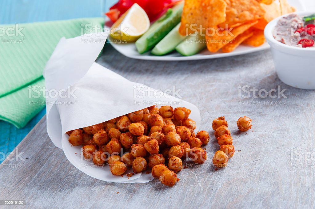 Roasted spicy chickpeas stock photo