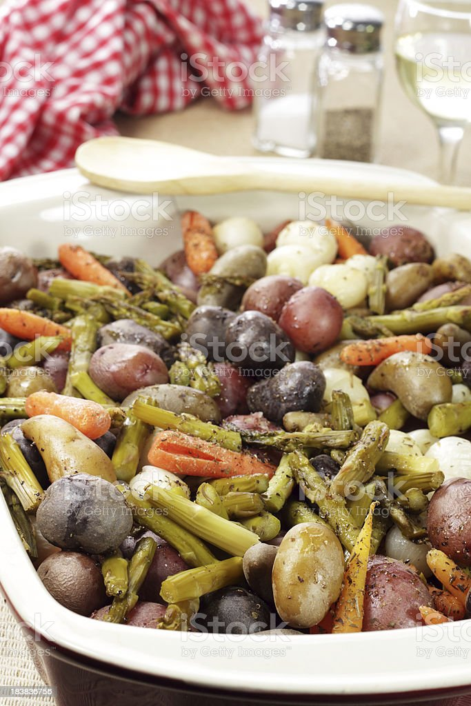Roasted Spring Vegetables royalty-free stock photo