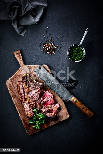 istock Roasted steak with peppercorns and peas 667510308