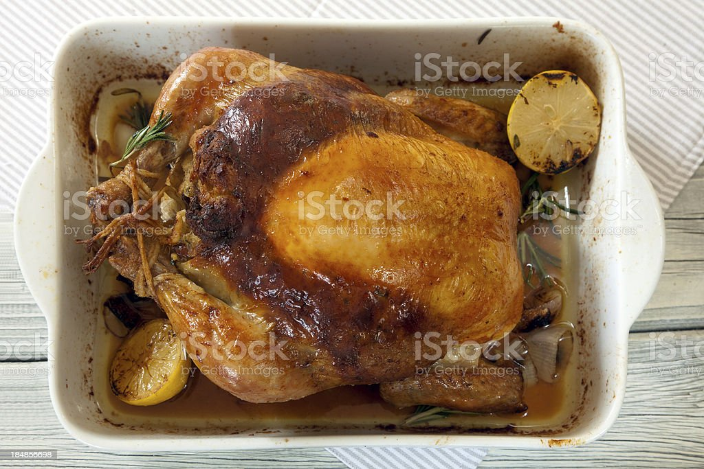 Roasted stuffed chicken royalty-free stock photo