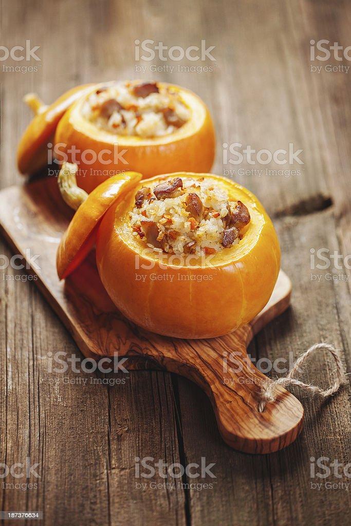 Roasted stuffed pumpkins stock photo