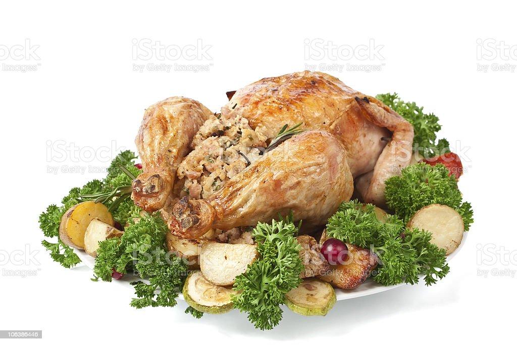 roasted stuffed  turkey ( chicken ) stock photo