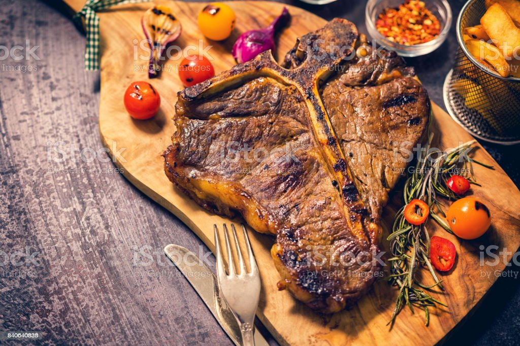 Roasted T-Bone Steak stock photo