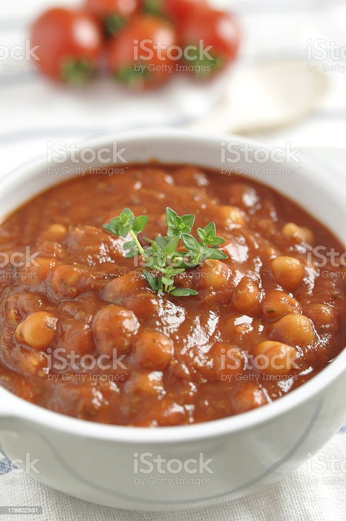 roasted tomato soup with beans stock photo
