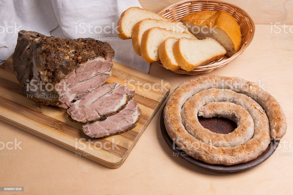 Roasted traditional homemade sausage with spices and herbs. royalty-free stock photo