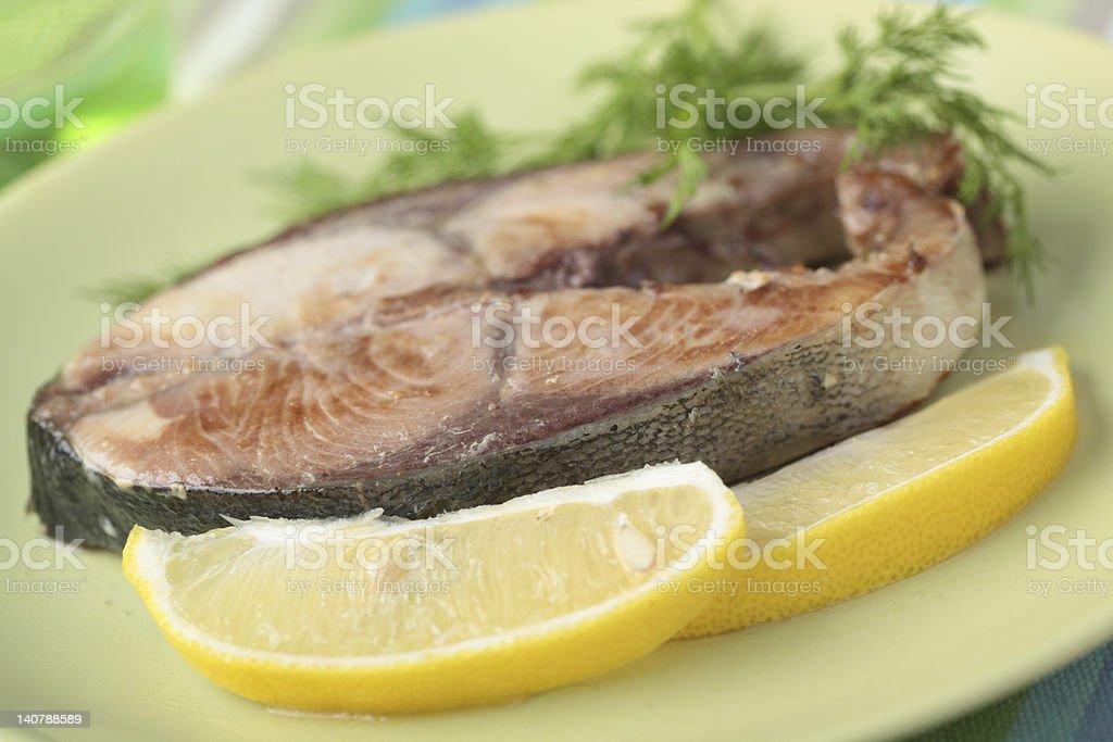 Roasted tuna steak royalty-free stock photo