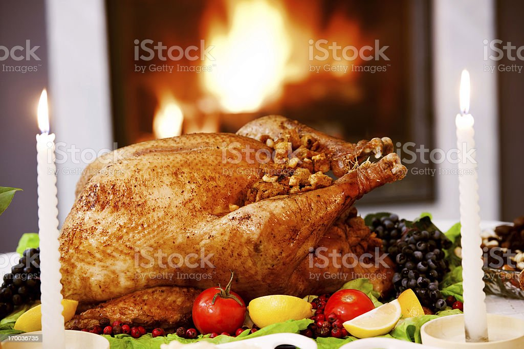 Roasted Turkey against the fireplace. royalty-free stock photo