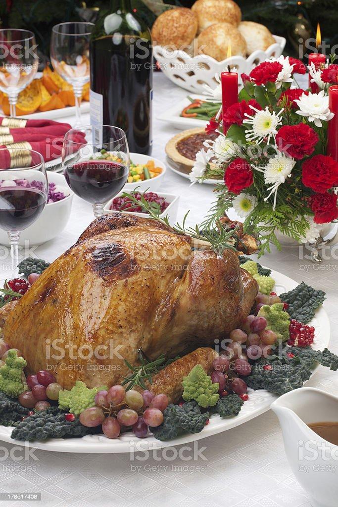 Roasted Turkey and Christmas Tree royalty-free stock photo