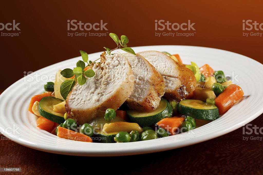 Roasted turkey fillet and vegetables royalty-free stock photo