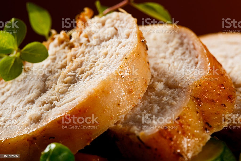 Roasted turkey fillet and vegetables stock photo