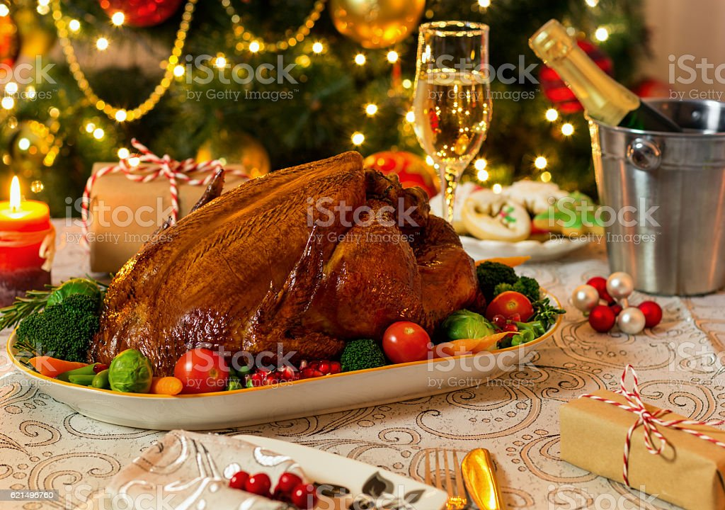 Roasted Turkey For Christmas Day stock photo