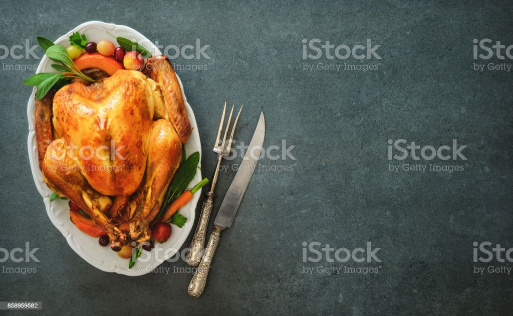 Roasted turkey for Thanksgiving Day or Christmas stock photo