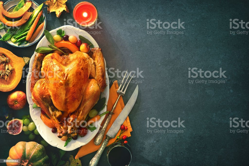 Roasted turkey for Thanksgiving Day stock photo