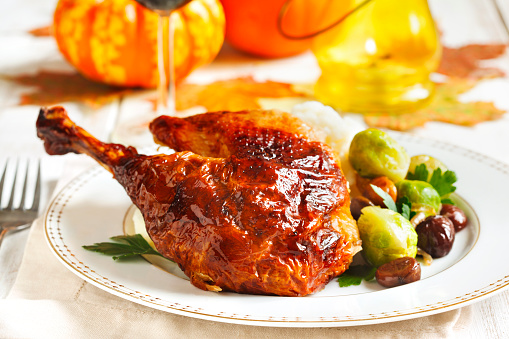 Roasted Turkey Leg With Mash Potato Chestnuts And Brussels Sprouts Stock Photo - Download Image Now