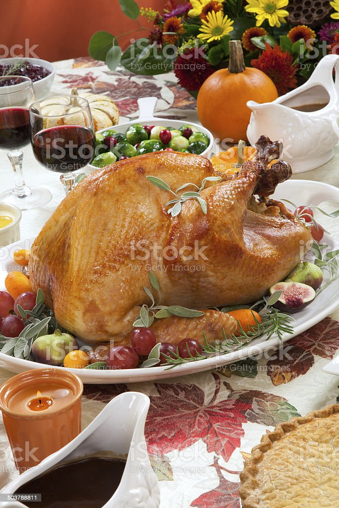 Roasted Turkey on Harvest Table royalty-free stock photo