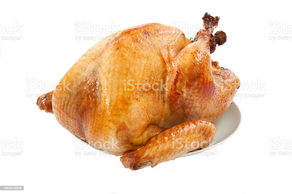 Roasted Turkey on white stock photo