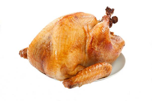 roasted turkey on white - warm bereid stockfoto's en -beelden