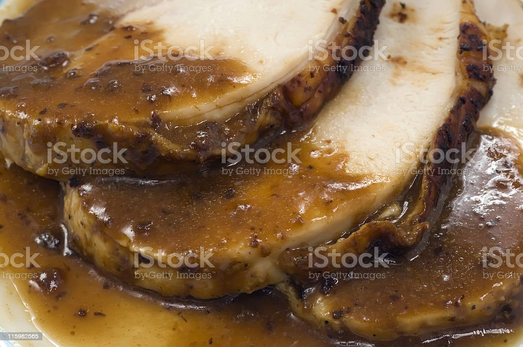 Roasted turkey slices stock photo