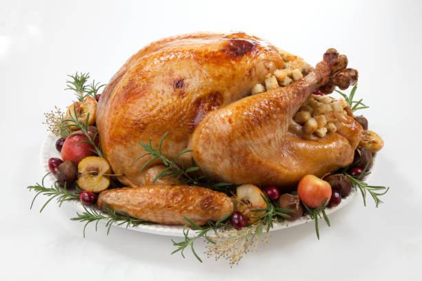 roasted turkey with grab apples over white - turkey zdjęcia i obrazy z banku zdjęć