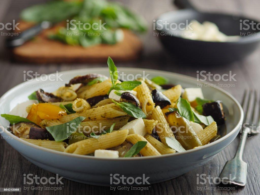 Roasted vegetable pasta salad royalty-free stock photo
