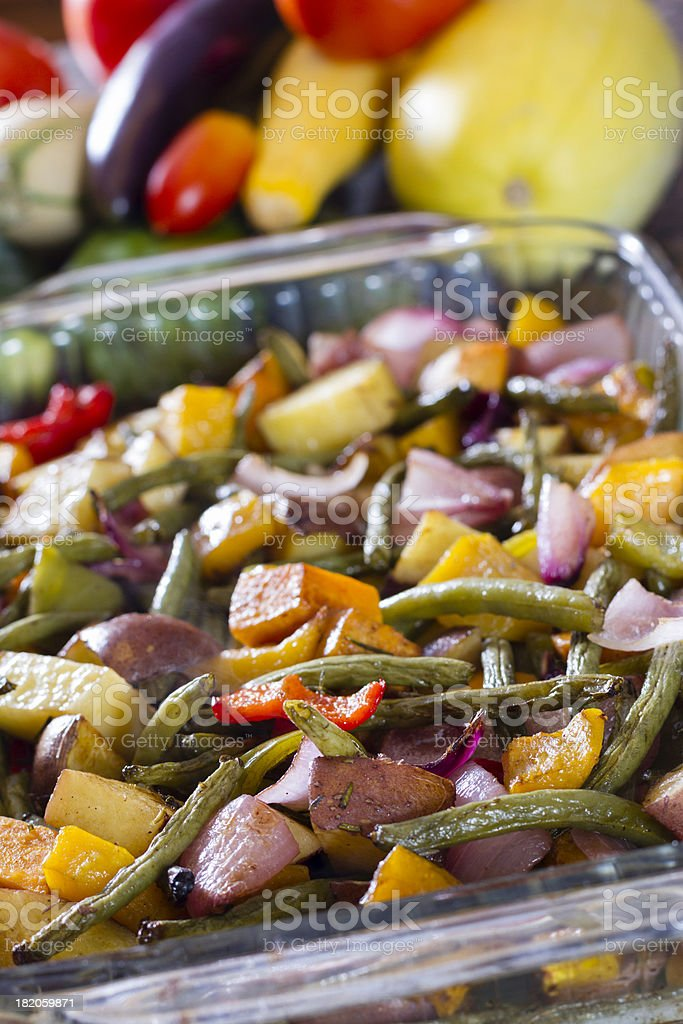 Roasted vegetables in a baking pan straight from the oven. royalty-free stock photo