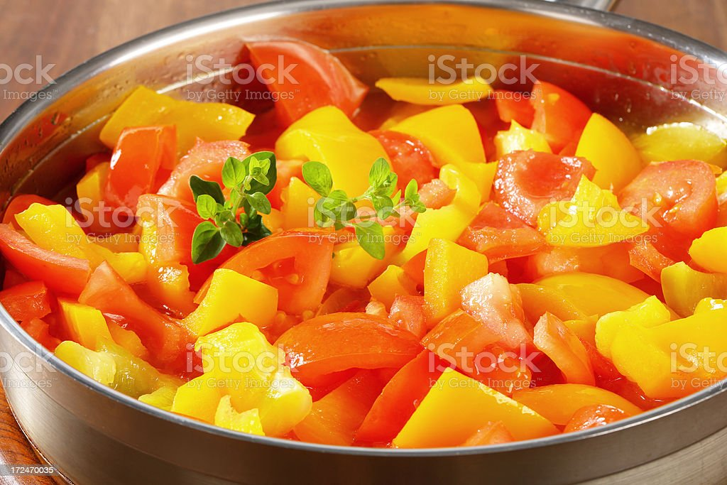 Roasted vegetables in a pan royalty-free stock photo