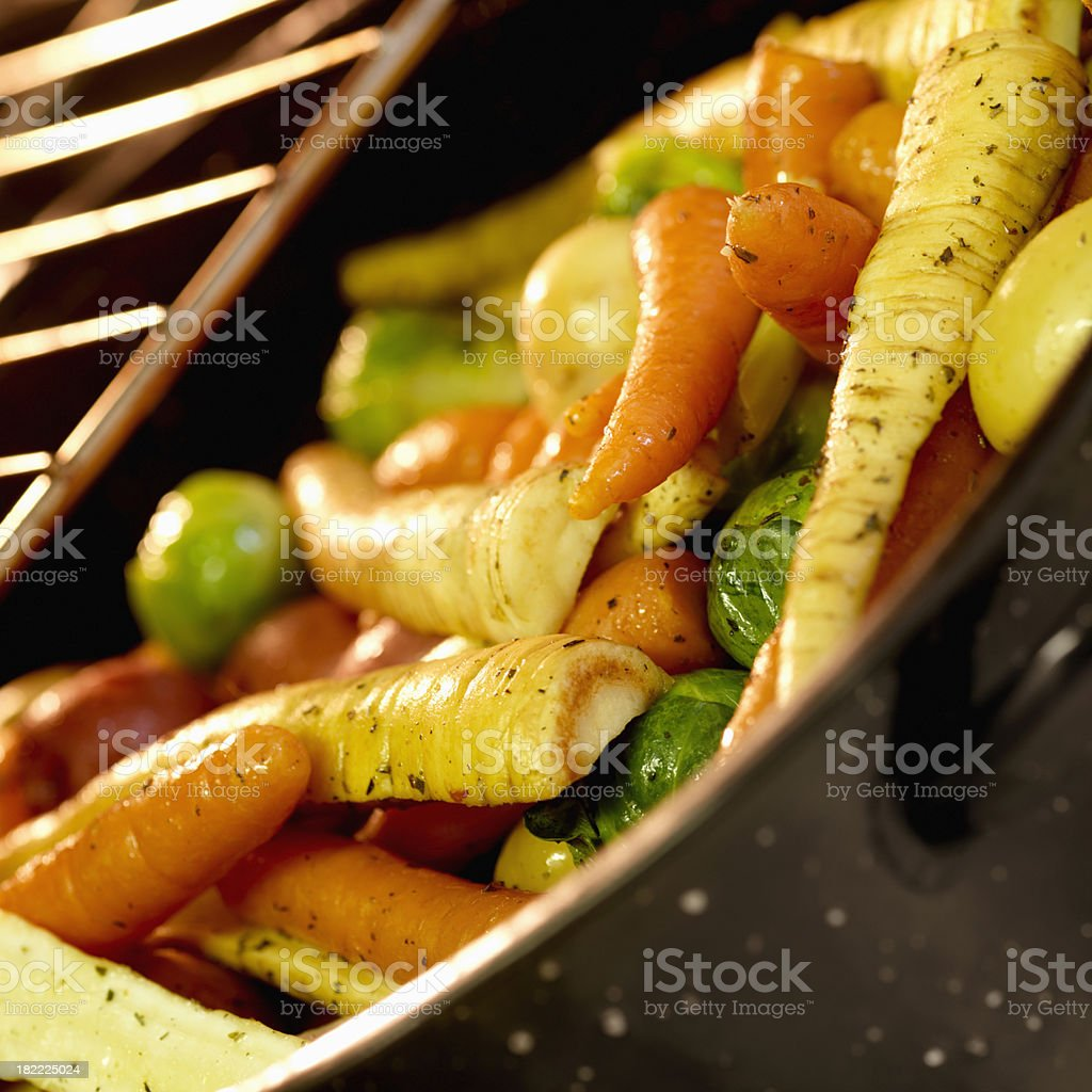 Roasted Vegetables in the Oven royalty-free stock photo