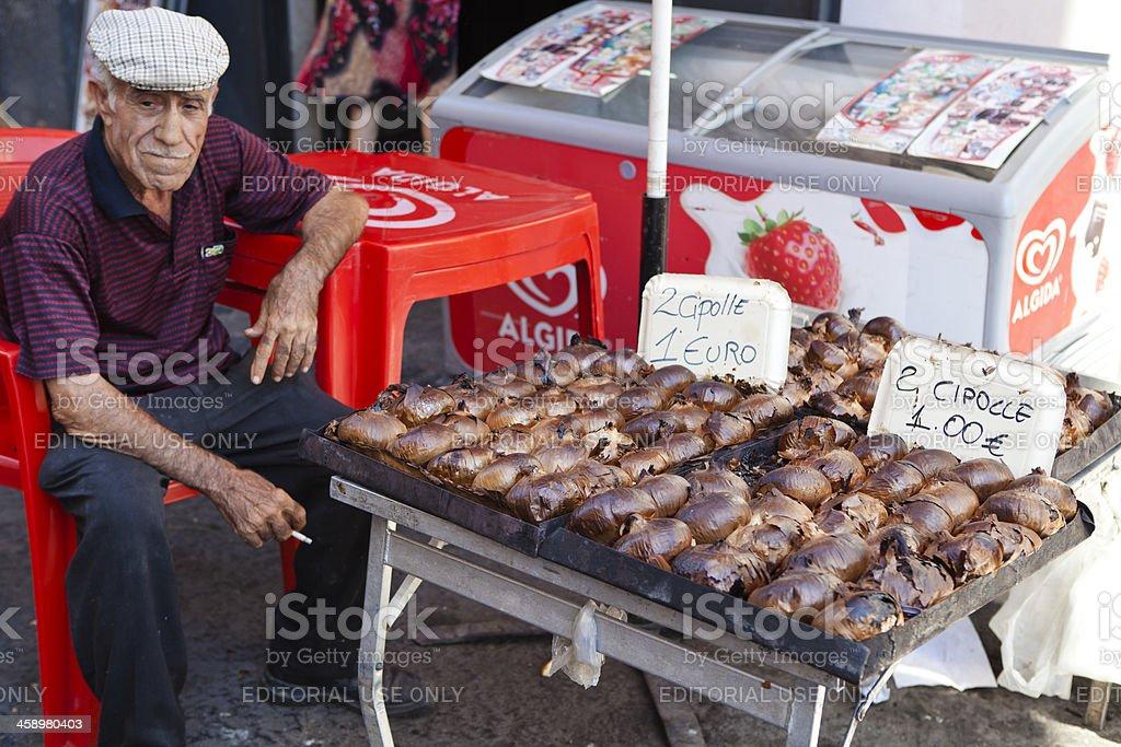 Roasted Vegetables Seller, Catania Street Market, Italy royalty-free stock photo