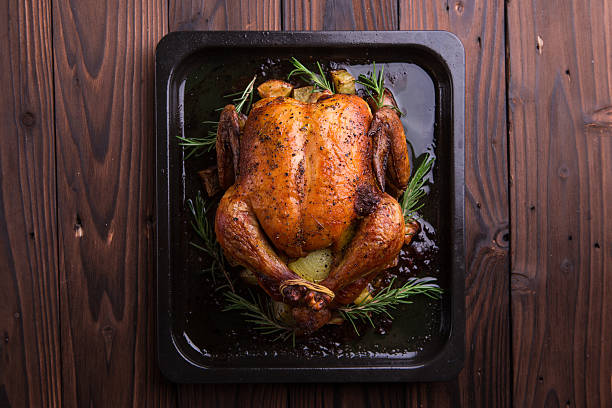 Roasted whole chicken / turkey for celebration and holiday stock photo