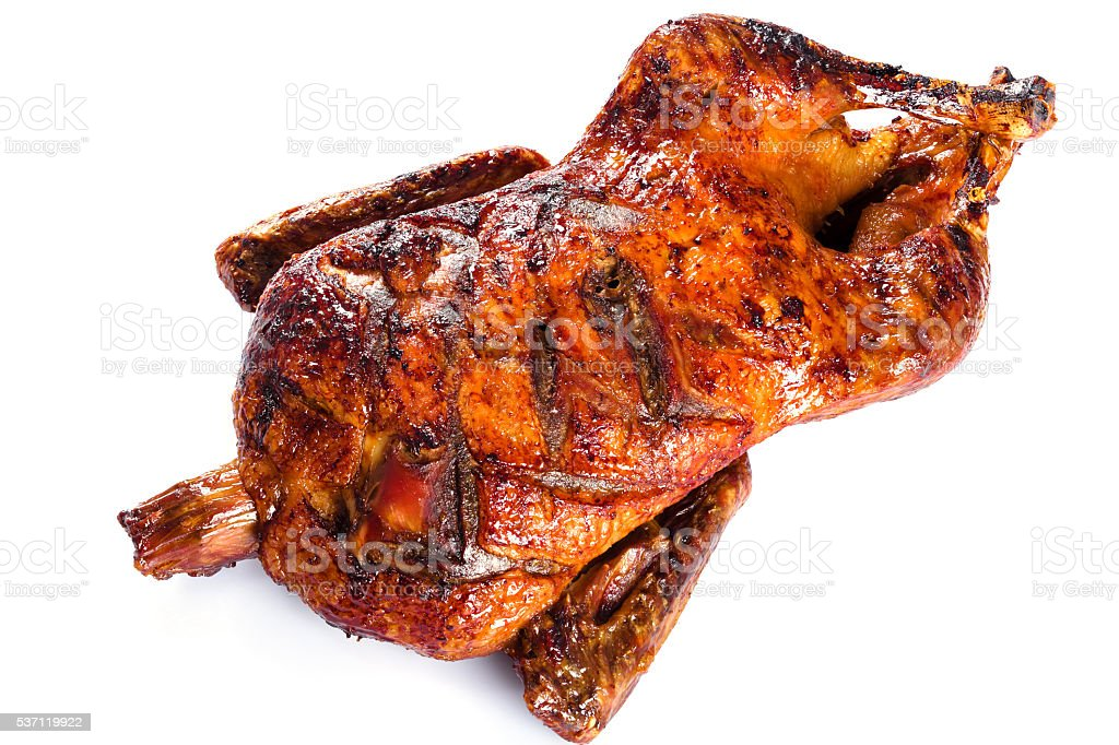 Roasted Whole Duck in honey mustard soy glaze, close-up stock photo