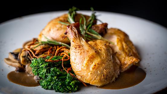 Chicken Meat, Chicken Let, Plate, White Background
