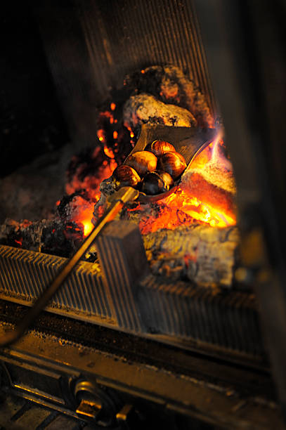 Roasting chestnuts on open fire **ISO 2000 some noise** Roasting chestnuts on open fire. log fire stock pictures, royalty-free photos & images
