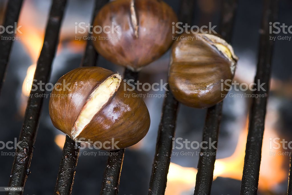Roasting chestnuts - V royalty-free stock photo