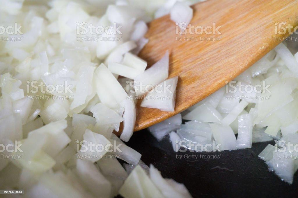 Roasting Chopped Onion On Frying Pan. Cooking Process. Lizenzfreies stock-foto
