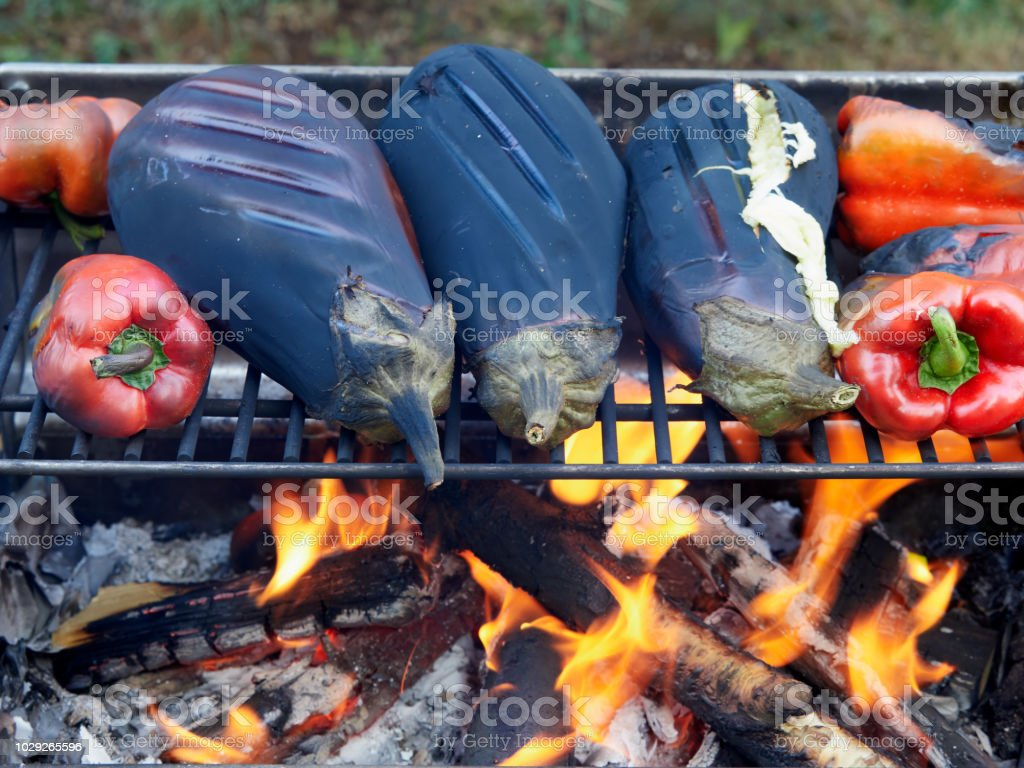 Roasting eggplants and red peppers on a grill over an open fire stock photo